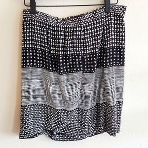Loft Black & White Print Faux Wrap Mini Skirt